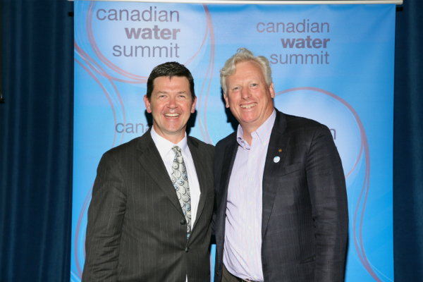 Left to Right: Todd Latham, President, Actual Media Inc. and publisher of Water Canada magazine with David Miller, President & CEO, WWF-Canada and Canadian Water Summit 2014 Chair