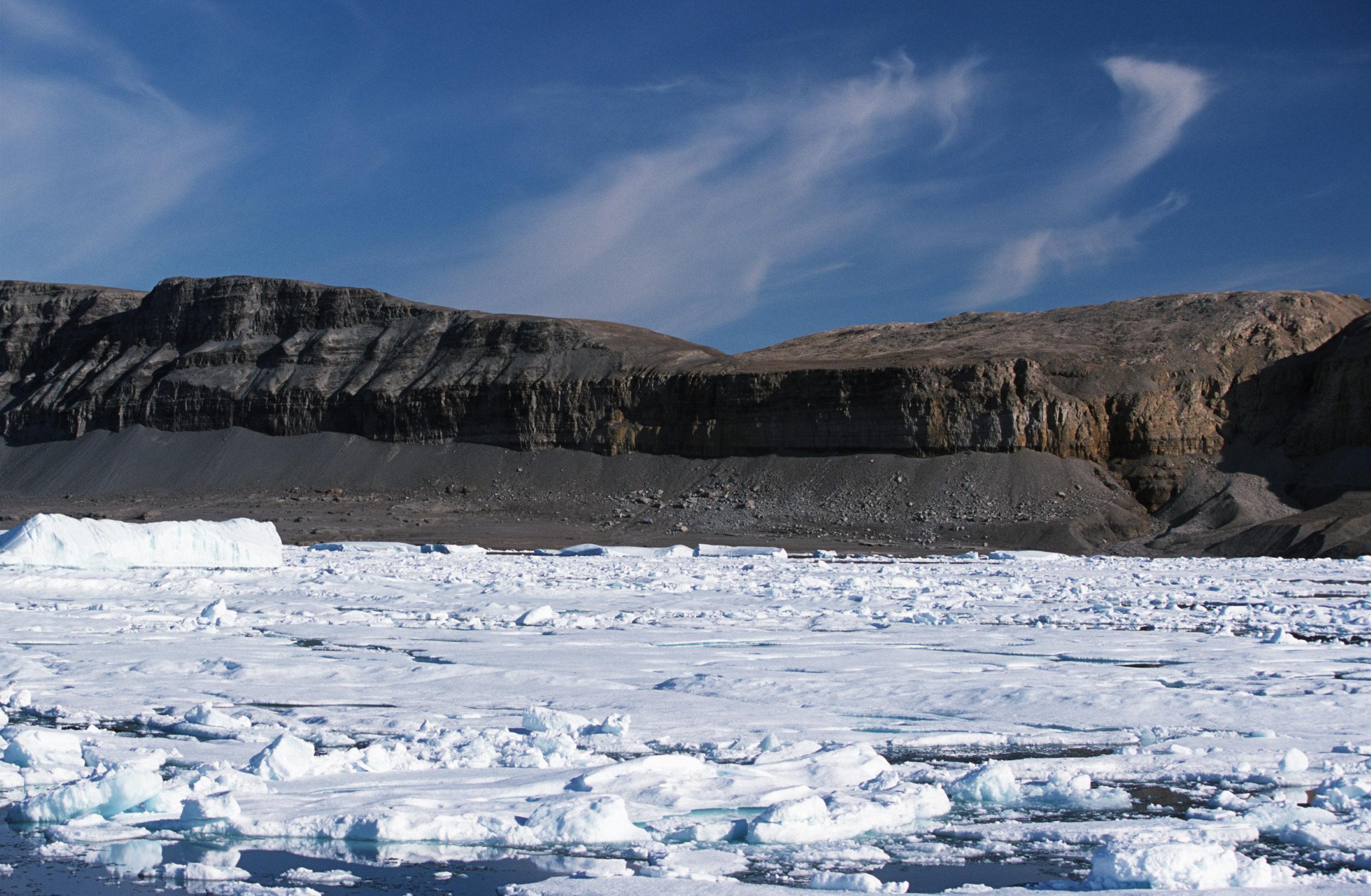 Sea ice on the coast of northeast Ellesmere Island, Nunavut, Canada.