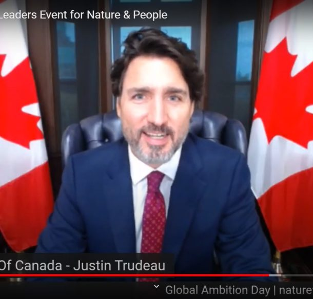 Prime Minister Justin Trudeau speaking at WWF Leader's Pledge for Nature event