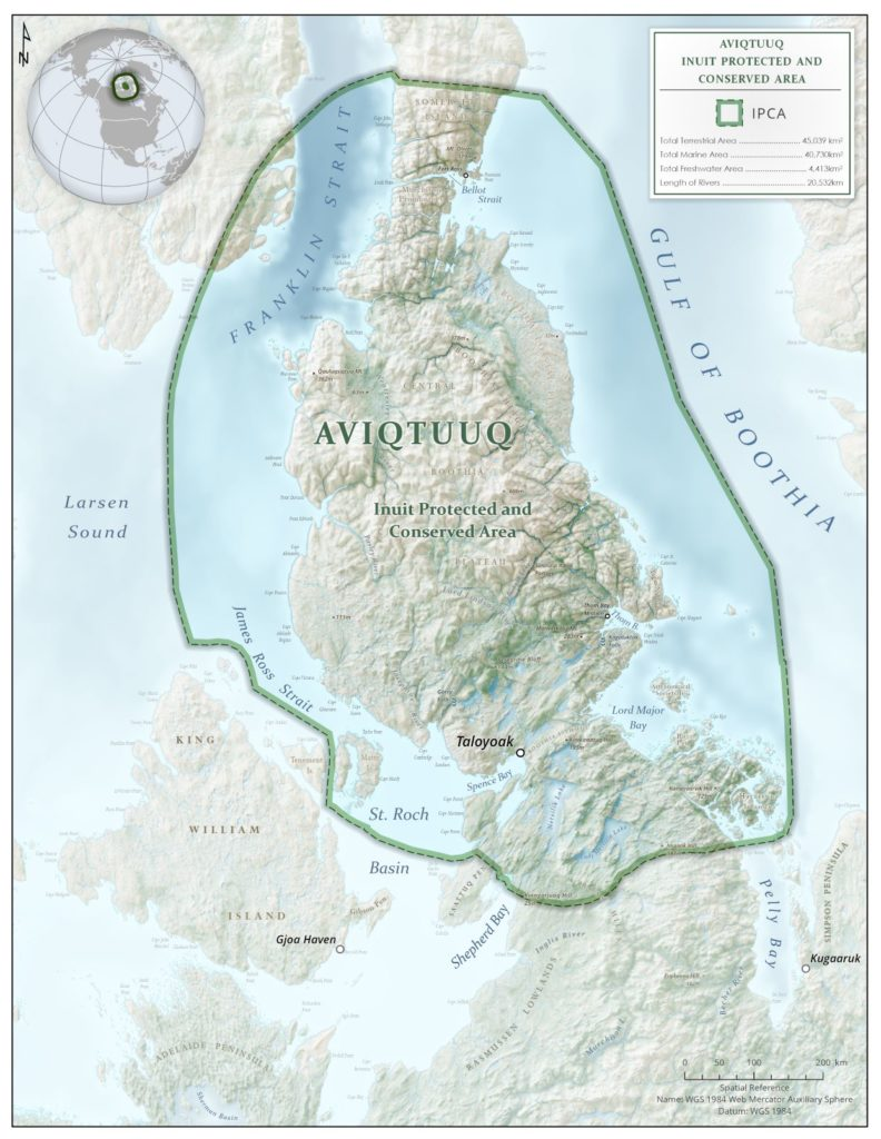 Proposed boundaries for Aviqtuuq IPCA, including marine and terrestrial areas