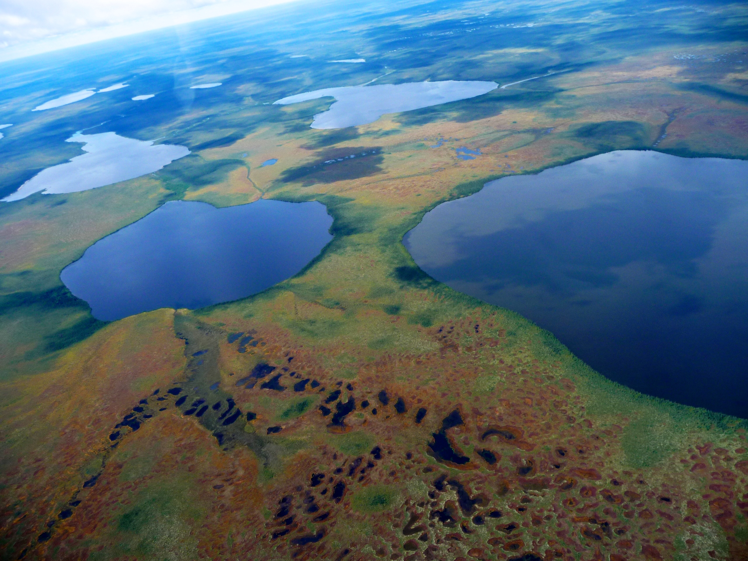 Aerial view of the landscape typical of the Hudson Bay Lowlands, Ontario, Canada