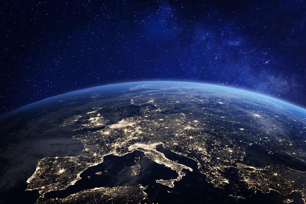 Représentation en 3D de la planète Terre élaborées avec des éléments de la NASA.